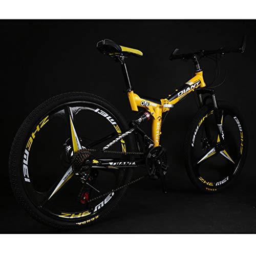 XIGE Erwachsene Herren Mountainbikes MTB, 26 Zoll / 24 Zoll Mountain Trail Bike High Carbon Stahl Vollgefederung Rahmen Fahrräder 21-Gang-Gänge Mountainbike Aluminium Racing-Yellow-26inch21speed
