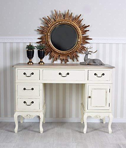 Antiker Schreibtisch, Computertisch, Schreibmöbel, Sekretär, Arbeitstisch, Tisch aus Holz im angesagten Vintage-Stil in Weiß - Palazzo Exclusive