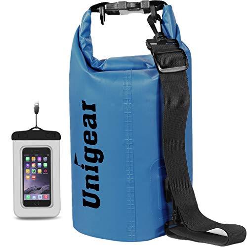 Unigear - Saco de neopreno para deportes acuáticos con funda impermeable para teléfono móvil y correa de hombro ajustable para barcos, kayak, pesca, rafting, natación, camping y snowboard (azul, 20 L)