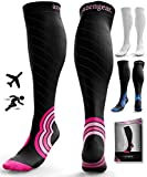 Compression Socks for Men & Women - Anti DVT Varicose Vein Stockings - Running - Shin Splints Calf Support - Flight Travel - L/XL