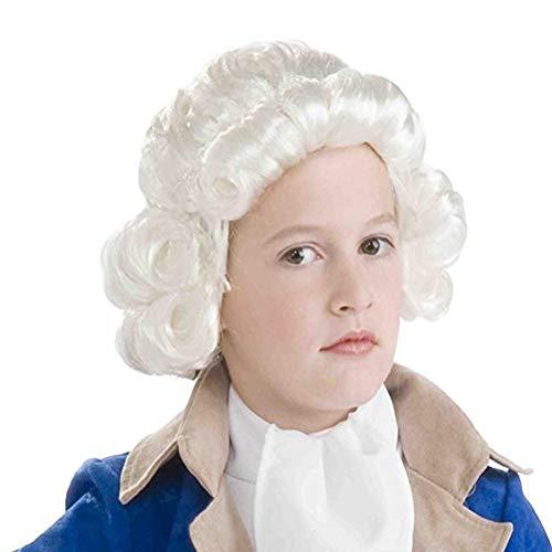 RANRANHOME Kind Colonial Man Wig, Lockly Hair Richter Kopfbedeckung Kostüm Ausgefallene Kleider Accessoires
