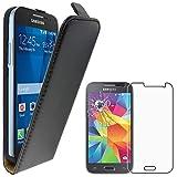 ebestStar - Funda Compatible con Samsung Galaxy Core Prime SM-G360F, 4G SM-G361F VE Carcasa Abatible PU Cuero, Ultra Slim Case Cover, Negro +Cristal Templado [Aparato: 130.8x67.9x8.8mm 4.5']