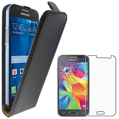 ebestStar - Funda Compatible con Samsung Galaxy Core Prime SM-G360F, 4G SM-G361F VE Carcasa Abatible PU Cuero, Ultra Slim Case Cover, Negro +Cristal Templado [Aparato: 130.8x67.9x8.8mm 4.5