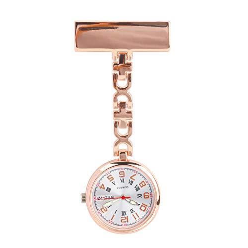 Zwini Reloj de la Enfermera con Clip Colgantes de Cuarzo de Bolsillo médico Semana Reloj y Calendario diseño Enfermera Broche (Rosa de Oro)