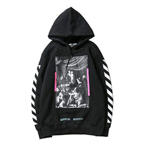 Fashion OW Religious Oil Painting Printing Loose Pullover Hoodie for Men/Women