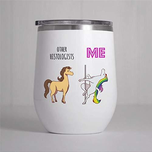Vaso de vino histólogo, regalo histólogo, copa de vino personalizada sin tallos con tapa deslizante aislada al vacío, taza de acero inoxidable para fiestas, hogar, oficina, 350 ml