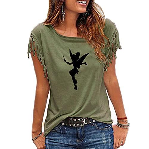 Hong Yi Fei-Shop Camisetas Tshirt Women Fairy Silhouette Dibujos Animados Fairy Camiseta Impresa Harajuku Lindo Camiseta Túnica (Color : 4, Size : L)