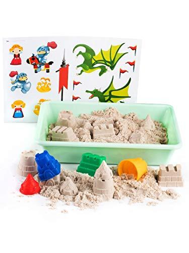 1kg de sable cinétique avec les moules chateau fort jouet avec bac à sable Sable magique à modeler pour les enfants GenioKids Smart Sand Fairy Castle