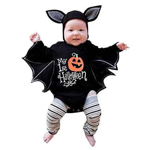 Fossen Kids Disfraz Halloween Niña Niño Bebe de Murciélago Manga Mameluco, Tops con Sombrero de Oreja - Otoño Invierno Moños Recien Nacido Lindo 3 Meses a 3 Años (3-6 Meses, Calabaza#02)