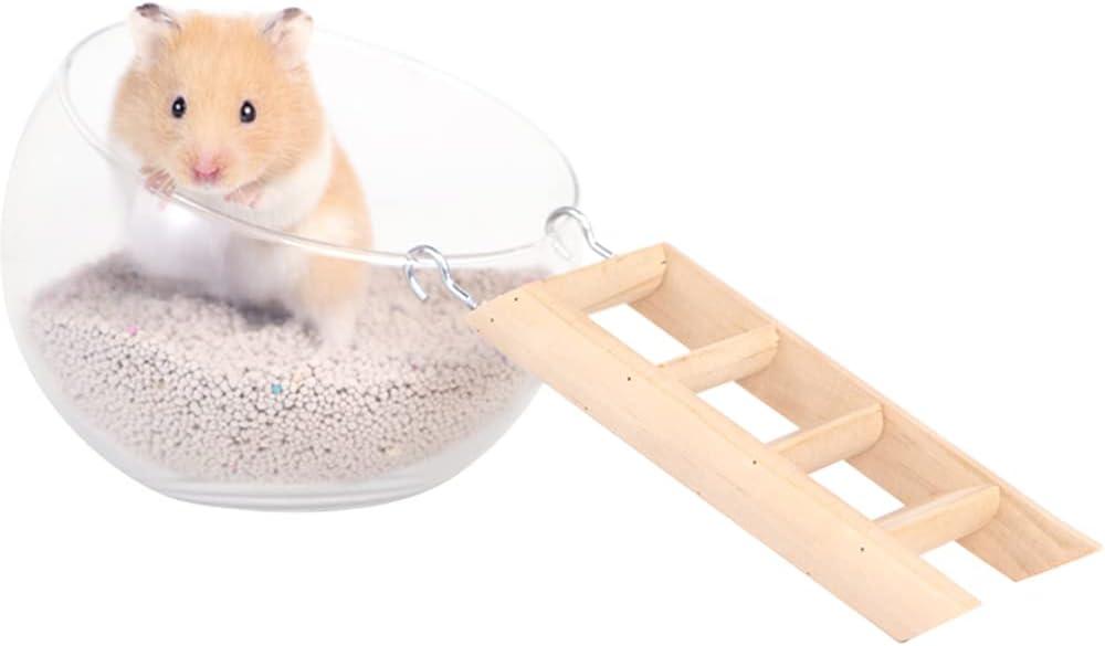 Kelendle Hamster Kansas shop City Mall Glass Bathroom with Ladder Transparent G Wooden