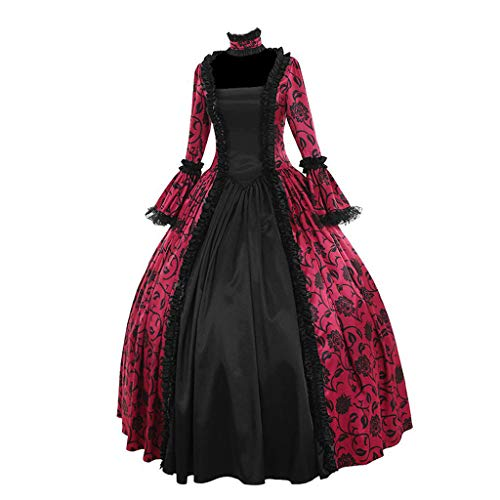 Gothic Dress, Forthery Women's Gothic Victorian Poplin Long Sleeve Hooded Halloween Lolita Witch Dress