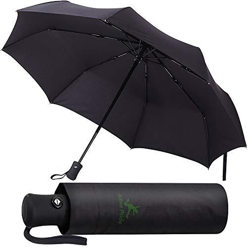 Active Pride Parapluie, compact, coupe-vent, noir solide, automatique, de voyage, parapluie pliable pour homme et femme