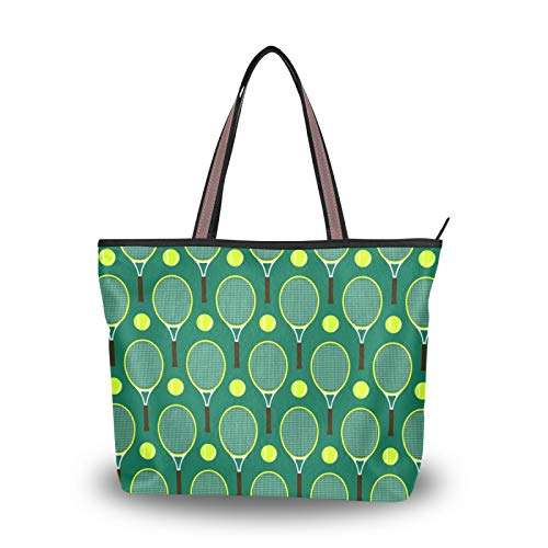 NaiiaN Bolso de compras para madres, mujeres, niñas, señoras, estudiantes, raquetas de tenis, bolsos con patrón, bolsos de hombro, bolso de mano, correa liviana
