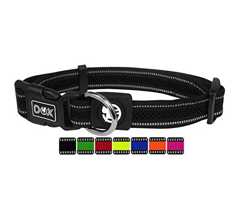 DDOXX Hundehalsband Air Mesh, reflektierend, verstellbar, gepolstert | viele Farben | für kleine & große Hunde | Halsband Hund Katze Welpe | Hunde-Halsbänder | Katzen-Halsband klein | Schwarz, M