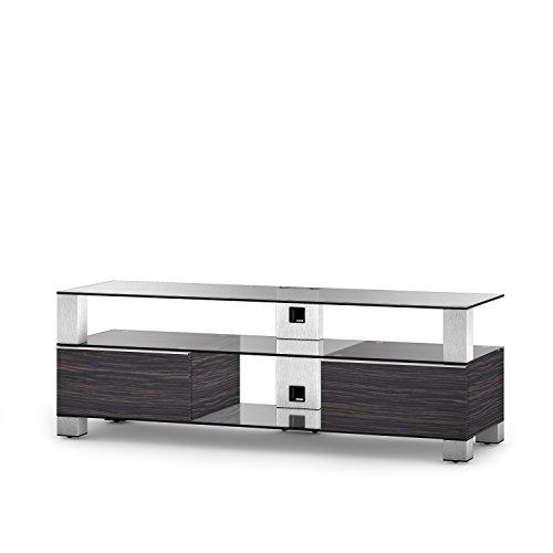 Sonorous MD 9140-C-INX-AMZ Fernseher-Möbel mit Klarglas (Aluminium INOX, Korpus Holzdekor)
