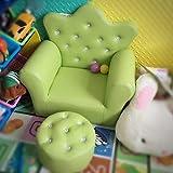 DW&HX Mini Suave Silla tapizada niños Lindo Princesa Tufted Bejeweled Sillón para niños Y otomano -Verde 56x41x55cm(22x16x22)