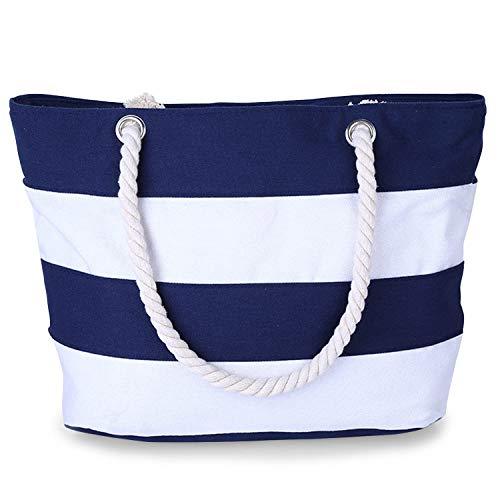 CoreLife Strandtasche aus Segeltuch mit Innentasche mit Reißverschluss und Seil-Griff, wasserabweisend, Segeltuch, (Canvas - Blue and White Stripes), Large
