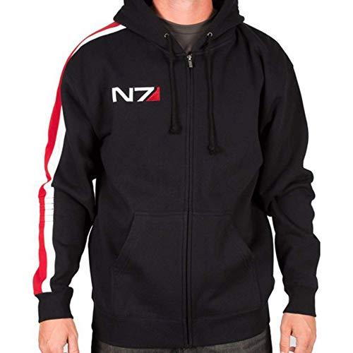 III-Fashions N7 Hoodie Mass 3 Commander Shepard Street Fighter Bomber N7 Sweatshirt Cosplay Costume Black Fleece Jacket