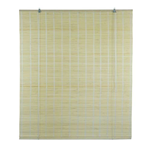 Solagua 6 Modelos 14 Medidas de estores de bambú Cortina de Madera persiana Enrollable (110 x 135 cm, Natural)