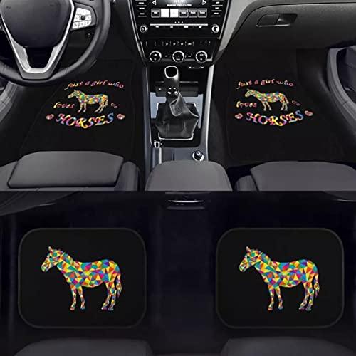 Honyan Lot de 4 tapis de sol universels antidérapants pour voiture ou van avec bordure noire (cheval)