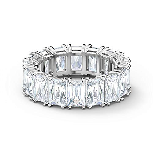 Swarovski Vittore Wide White Rhodium Plated Ring Size 55