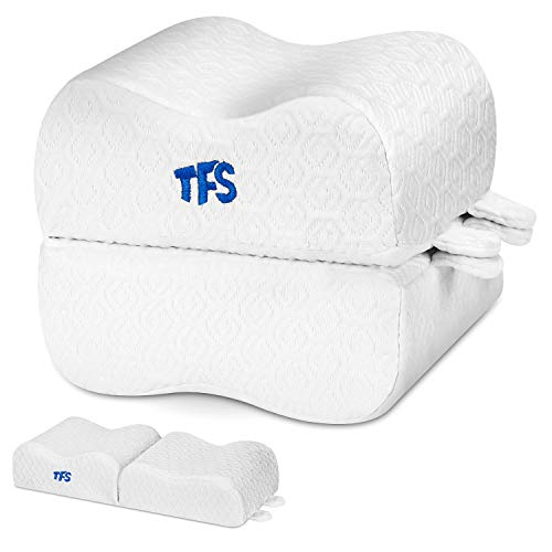 TFS TOP · FANS Knee Pillow for Side Sleepers - Sciatic Nerve Pain Relief Leg Pillow - Best for Sciatica, Pregnancy, Back and Spine Alignment - Memory Foam Orthopedic Contour Wedge with Washable Cover