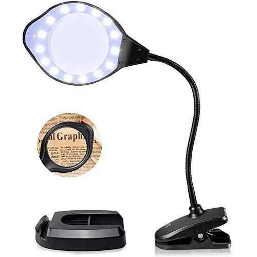 EletecPro Lupenleuchte 2-4 Fach Vergrößerung,30 Watts mit LED Tageslicht, Klemme und Handy Halter Boden Lupenlampe mit standfuß ideal für Präzisionsarbeit, Lesen und Hobbys Basteln