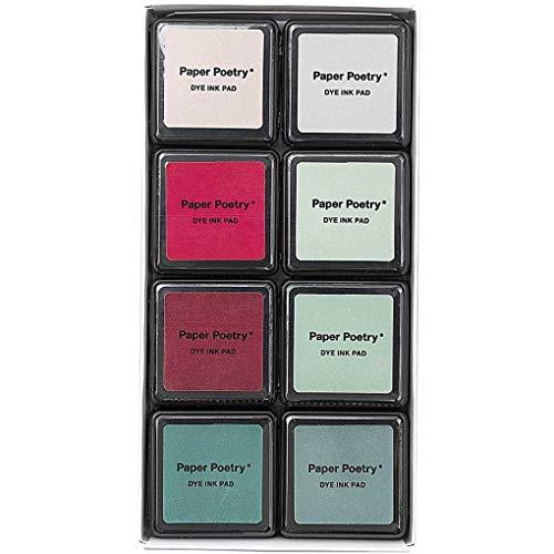 Rico Design Paper Poetry Tusche-Stempelkissen Set - 8 Farben Classic Mix - Stempelpads zum Basteln, Malen & Scrapbooking