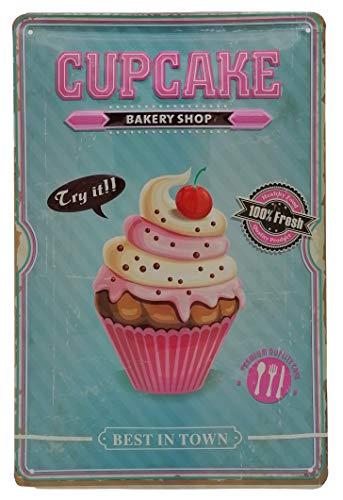 Tabliczka kuchenna Premium Cupcake, tłoczona tabliczka blaszana 30 x 20 cm, Bakery Shop Best in Town - ciasto, ciastka, czekolada i kremowa z wiśnią dekoracją ścienną w kolorze turkusowym