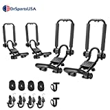 DrSportsUSA Two Pair Fold Down J Bar Kayak Rack Designed mounts to virtually All crossbars and Load Bars Double Folding J Bar Car Roof Carrier for Kayak Canoe Surf Board and SUP Paddle Boat (2 Pairs)