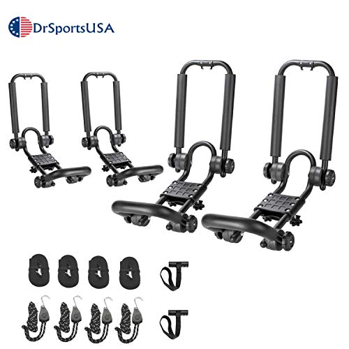 DrSportsUSA 2 Pairs Fold Down J Bar Kayak Rack Designed mounts to virtually All crossbars and Load Bars Double Folding J Bar Car Roof Carrier for Kayak Canoe Surf Board and SUP Paddle Boat
