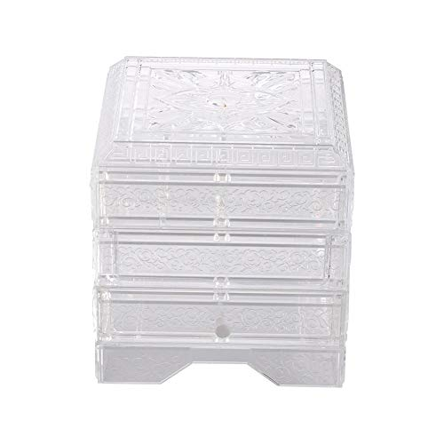 Boîte rangement cosmétique bijoux en acrylique transparent, récipient anti-poussière à 3 couches, étui rangement classique pour maquillage, organisateur tiroir avec boucles d'oreilles (Transparent)