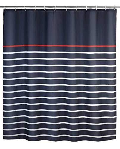 WENKO Duschvorhang Marine Blue, 180 x 200 cm Dusche Vorhang Duschkabine Badezimmer Zubehör Badezimmer Accessoires Duschaccessoires