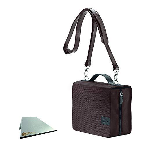 SchönfelderSkin basic Tasche (Nylon/Leder) - kaffee-braun - im Set mit Tragegurt und rutschfester Buchstütze: Buchhüllen-Tasche mit Buchstütze und Tragegurt in Material Nylon/Leder, Farbe braun