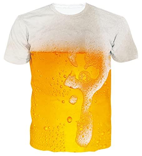 Loveternal Bier Tshirt 3D Druck Tees Funny Casual Beer Grafik Kurzarm T-stücke für Frauen Männer M