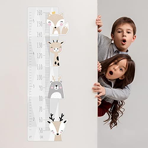 Medida decorativa de altura para niños - estilo minimalista escandinavo - decoración autoadhesiva para habitación de una niña o de un niño - un juego lindo de animalitos