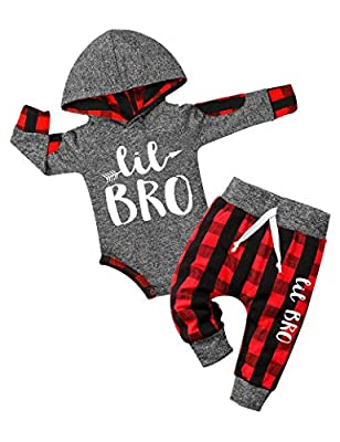Newborn Baby Boy Clothes Little Brother Letter Print Long Sleeve Hoodies +Plaid Long Pants 2PCS Outfits Set 3-6 Months from