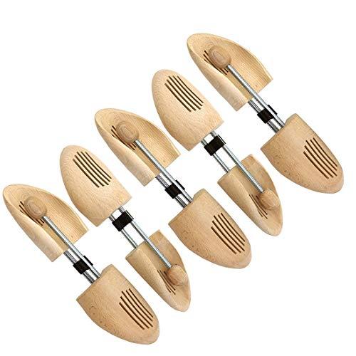 Langlauf Schuhbedarf 5 Paar Set – Holz Schuhspanner mit Spiralfeder – Made in Germany – Buchenholz aus nachhaltiger Forstwirtschaft (Gr. 44-45)