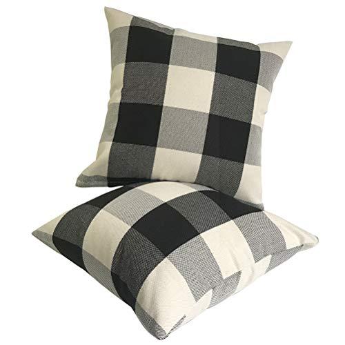 ULOVE LOVE YOURSELF 2Pack Rustic Tartan Checkered Throw Pillow Covers Farmhouse Decor Retro Buffalo Check Plaid Cotton Linen Decorative Cushion Cover Throw Pillowcase 18 x 18 Inch,Black&White
