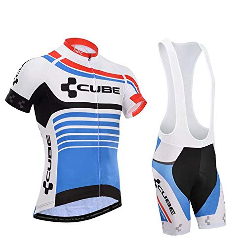 CQXMM Herren Radtrikot Atmungsaktive Fahrradbekleidung Set Schnelltrocknend Trikot Kurzarm Shirt + Radhose mit Sitzpolster für Radsport S -XXL 3XL 4XL 5XL