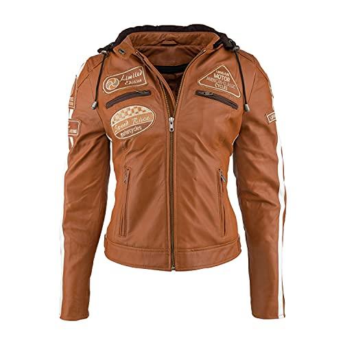 Chaqueta Moto Mujer de Cuero URBAN 5884 '58 LADIES' | Chaqueta Cuero Mujer | Cazadora Moto de Piel de Cordero | Armadura Removible para Espalda, Hombros y Codos Aprobada por la CE |Tan | Marrón, L