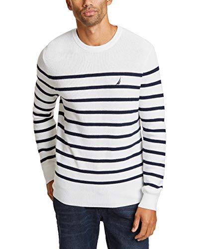 Nautica Men's Long Sleeve Striped Crew Neck Sweater, Marshmallo, XX-Large