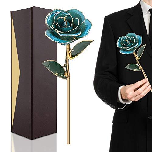 Rosa de Oro de 24 Quilates, Regalo de Flores de Tallo Largo para Ella, Hecho de Rosa Fresca, último día de la Madre/acción de Gracias/Navidad/San Valentín/cumpleaños/graduaciones/Bodas
