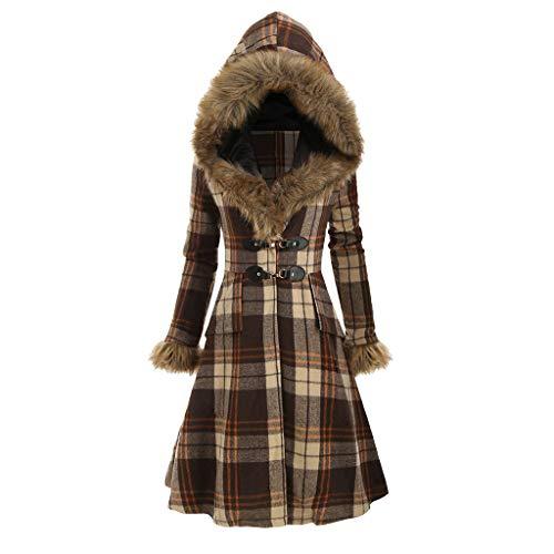 vermers Women Coats Winter, Womens Warm Plaid Print Long Coat Fur Collar Hooded Jacket Slim Parka Outwear with Buckle(12,Z-Plaid Print Buckle Brown)