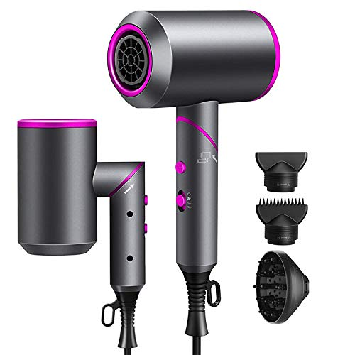 SKERTS Hair Dryer with Diffuser,1800W Foldable Negative Ionic Conditioning Blow Dryer for Women,3 Heats/2 Speeds/1 Cool button Settings,Hair Dryer with 2 Nozzles and 1 Diffsuer