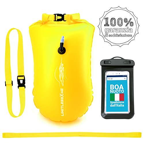 LimitlessXme Boa Gonfiabile per Nuoto Giallo & Sacca stagna incl. Custodia per Il Cellulare – Sicurezza Durante Il Nuoto, in acque libere e per Il Triathlon. Boa Galleggiante, Swim Buoy Bubble