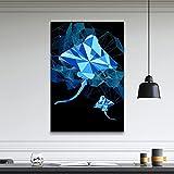 帆布の絵 デビルフィッシュオイルウォールアート写真漫画ブルーHDかわいいプリントポスター家の装飾キャンバス絵画モジュラーリビングルーム用フレームなし 50x70cm