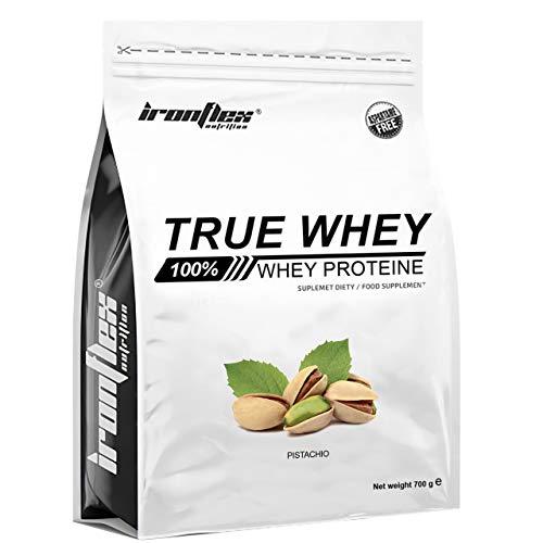 Iron Flex True Whey Protein Concentrate WPC - 1 paquete - Concentrado de proteína de suero - Perfil completo de aminoácidos - Sin azúcar - Ideal para culturismo y gimnasio (Pistachio, 700g)