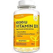 Vitamin D 1000 IU (25μg) - 365 VITAMIN D Weichgelkapselnganzer Jahresbedarf Erhaltung eines gesunden Immunsystems, gesunder Muskeln, Knochen und Zähne - Vitamin D3 Cholecalciferol - von Nutravita