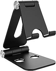 Simpeak Stand compatible met mobiele telefoon, verstelbaar, opvouwbaar, aluminium, tabletstand, verstelbaar, compatibel met pad, Pad Pro-Zwart